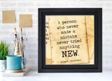 Albert Einstein Classic Inspirational Quote, Motivational Art Print, Never Made a Mistake. Vintage Style Literary Poster