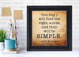 Jack Kerouac Classic Inspirational Quote, Motivational Art Print, Simple. Vintage Style Literary Poster