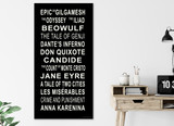 World Literature Subway Sign, Literary Poster, For Classroom, Office, Home or Library. Multiple Sizes Available