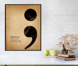 Semicolon, Writing, Punctuation and Grammar Art Print. Fine Art Paper, Laminated, or Framed. Multiple Sizes Available for Home or Classroom