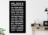 Classroom Rules Subway Sign, Personalized Art Print For Classroom, Office, Home or Library. Custom Teacher Gift