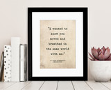 Romantic Quote Poster. Moved And Breathed, F. Scott Fitzgerald Quote, Literary Print For School, Library, Office or Home