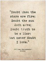 Romantic Quote Poster. Doubt Thou the Stars are Fire. Shakespeare Hamlet Literary Print For School, Library, Office or Home