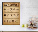 Math Symbols Art Print for Home, Office or Classroom. Mathematics Typography Poster. Fine Art Paper, Laminated, or Framed. Multiple Sizes