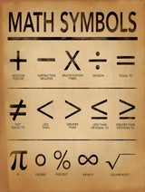 Math Symbols Poster For Home, Office or Classroom. Mathematics Typography Art Print. Fine Art Paper, Laminated, or Framed.