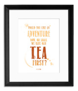 Tea Quote Posters - Typographic Art Prints Featuring Barrie, Lewis and Dostoyevsky. Literary Quote Prints. Fine Art Paper, Laminated, or Framed. Multiple Sizes Available for Kitchen, Home, or School.