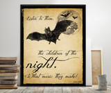Dracula Children of the Night Literary Quote. Vintage Style Print. Fine Art Paper, Laminated, or Framed. Multiple Sizes