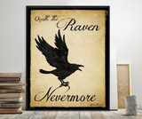 Edgar Allan Poe Quoth the Raven Nevermore Literary Quote. Vintage Style Print. Fine Art Paper, Laminated, or Framed. Multiple Sizes