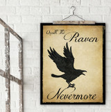 Nevermore Raven Literary Quote Print. Vintage Style Fine Art Paper, Laminated, or Framed. Edgar Allan Poe Print Available in Multiple Sizes for Home, Office, or School.
