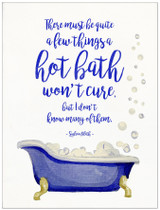 Hot Bath Literary Quote. Watercolor Sylvia Plath Fine Art Print For Classroom, Library, Home, Bath or Dorm