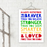 Loved More Than You Know A. A. Milne Literary Quote Print. Fine Art Paper, Laminated, or Framed. Multiple Sizes Available for Home, Office, or School.