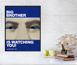 Big Brother - Nineteen Eighty-Four, 1984 George Orwell Literary Print. Fine Art Paper, Laminated, or Framed. Multiple Sizes.