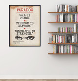 Nineteen Eighty-Four Paradox Quote, Educational Art Print featuring George Orwell. Vintage Style Literary Term Poster. Multiple Sizes.