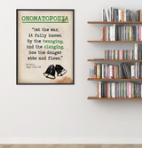 The Bells Onomatopoeia Quote, Educational Art Print featuring Edgar Allan Poe. Vintage Style Literary Term Poster. Multiple Sizes