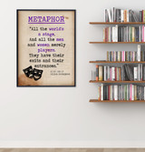 As You Like It Metaphor Quote, Educational Art Print featuring William Shakespeare. Vintage Style Literary Term Poster. Multiple Sizes.