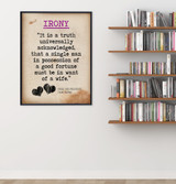 Pride and Prejudice Irony Quote, Educational Art Print featuring Jane Austen. Vintage Style Literary Term Poster. Multiple Sizes Available.