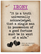 Irony-Literary Terms. Literary Quote Print. Fine Art Paper, Laminated, or Framed. Multiple Sizes Available for Home, Office, or School.