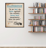 Great Gatsby Alliteration Quote, Educational Art Print featuring F. Scott Fitzgerald. Vintage Style Literary Term Poster. Multiple Sizes.