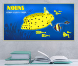 Nouns Parts of Speech Educational Poster. English Grammar Art Print