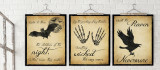 The Raven, Dracula and Macbeth Literary Quote Set. Vintage Style Fine Art Paper, Laminated, or Framed. Edgar Allan Poe, Bram Stoker and William Shakespeare.  Multiple Sizes Available for Home, Office, or School.