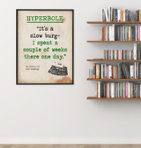 Hyperbole - Educational Poster featuring Carl Sandburg Quote. Vintage Style Literary Term Classroom Poster
