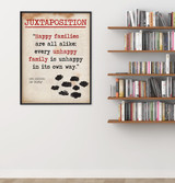Juxtaposition - Educational Poster featuring Leo Tolstoy Quote. Vintage Style Literary Term Classroom Poster