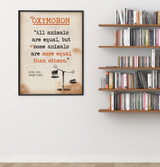 Oxymoron - Educational Poster featuring Animal Farm Quote. Vintage Style Literary Term Classroom Poster