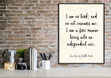 Jane Eyre Independent Will Vintage Style Inspirational Quote Print. Fine Art Paper, Laminated, or Framed. Multiple Sizes.