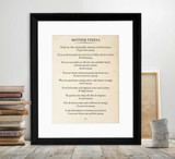 Mother Teresa Book Page Style Literary Quote Print. Fine Art Paper, Laminated, or Framed. Multiple Sizes Available