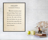 John Muir Mountain Book Page Style Literary Quote Print. Fine Art Paper, Laminated, or Framed. Multiple Sizes Available