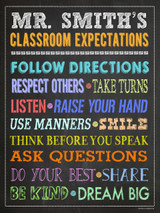 Classroom Expectations Personalized Art Print. Customizable Fine Art Paper, Laminated, or Framed. Multiple Sizes Available for Classroom, Home, or Library