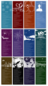 Literary Event Calendar. Twelve Month Set. Fine Art Paper or Laminated. Available for Home, Office, or School.