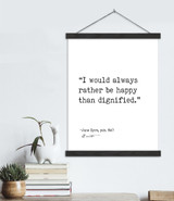 Charlotte Brontë Jane Eyre Rather Be Happy Than Dignified Author Signature Literary Quote Canvas Art Print w/ Hanger for Home, Classroom, or Library