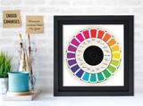Vintage Color Wheel Version 1 Print for Art Studio, Classroom, or Home. Fine Art Paper, Laminated, or Framed. Multiple Sizes.