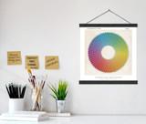 Vintage Color Wheel Version 5 Print w/ Hanger for Art Studio, Classroom, or Home.