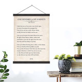 One Hundred Love Sonnets Vintage Book Page Literary Quote Canvas Art Print w/Hanger for Home, Classroom or Library