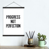 Progress Not Perfection - Letter Press Style Quote Canvas Art Print w/Hanger for Home, Classroom or Library