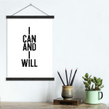 I Can and I Will - Letter Press Style Quote Canvas Art Print w/Hanger for Home, Classroom or Library