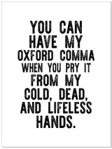 Oxford Comma - Letter Press Style Quote Canvas Art Print w/Hanger for Home, Classroom or Library