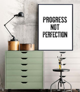 Work Hard Play Hard, Nothing Can Stop You, Progress Not Perfection - LetterPress Style Inspirational Quote Print Set of 3. Fine Art Paper, Laminated, or Framed