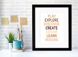 Play Explore Art Print. Diversity and Inclusivity Poster. Matte Paper, Laminated or Framed. Multiple Sizes