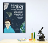 Katherine Johnson Women in Science Mathematics STEM Art Print. Matte Paper, Laminated or Framed. Multiple Sizes