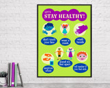 Stay Healthy. Classroom Covid-19 Safety Social Distancing Poster. Matte Art Paper, Laminated or Framed. Multiple Sizes