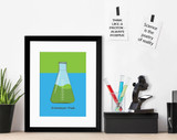 Erlenmeyer Flask Science STEM Poster. Vibrant Scientific Instruments Art Print. Matte Paper, Laminated or Framed. Multiple Sizes
