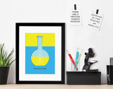 Florence Flask Science STEM Poster. Vibrant Scientific Instruments Art Print. Matte Paper, Laminated or Framed. Multiple Sizes