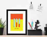 Test Tubes Science STEM Poster. Vibrant Scientific Instruments Art Print. Matte Paper, Laminated or Framed. Multiple Sizes