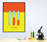 Test Tubes Science STEM Poster. Vibrant Scientific Instruments Art Print. Matte Paper, Laminated or Framed. Multiple Sizes