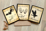 Raven, Dracula, Macbeth Quote Note Cards. Set of Three Cards with Envelopes