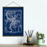 Morgantown West Virginia Map Fine Art Print. Plain Paper, Laminated, Canvas or Framed. Multiple Sizes Available.