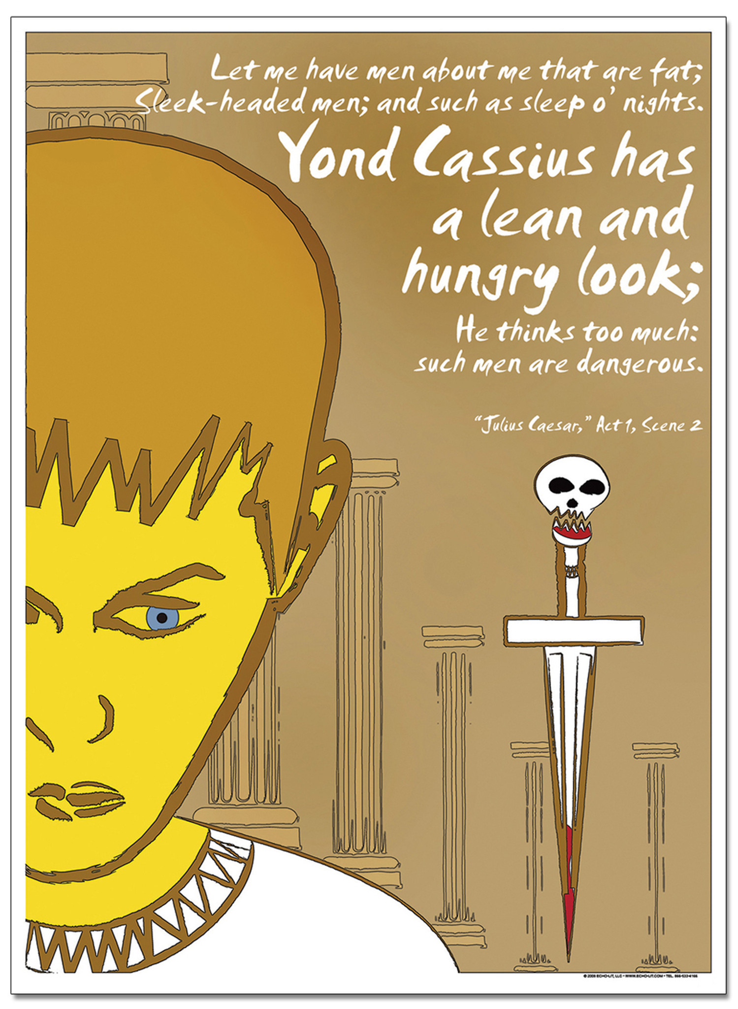 Lean And Hungry Caesar Famous Shakespeare Quote Poster Echo Lit